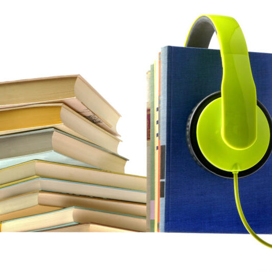 Audiobooks on white background