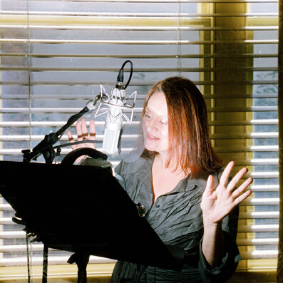 abbe holmes in the voice over booth